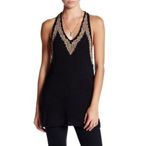 New free people Hold On Knit Tunic L black